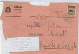 LETTERA MOLTO SCIUPATA RSI 1944 CENT.5 +50 CENT PACCHI USATI COME FRANCOBOLLI (LN410 - 4. 1944-45 Repubblica Sociale