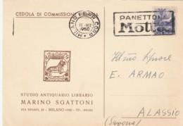 CEDOLA COMMISSIONE LIBRARIA CON 6 L. TIMBRO PANETTONE MOTTA (LN519 - 1946-.. République