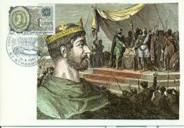 CM-Carte Maximum Card # France-1982 #  Histoire,history #Europa-Cept # Traité De Verdun # Roi Charles II # Strasbourg - 1980-89