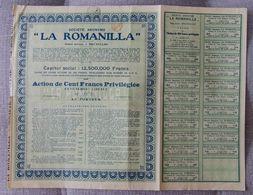 BELGICA ACCION COMPAÑIA MINAS PLOMO LA ROMANILLA CIUDAD REAL 1903 MINNING - Mineral