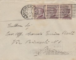 LETTERA 1927 CON 3X20 CENT. PREGATE I VOSTRI -AGRICOLTORI (LN627 - Storia Postale