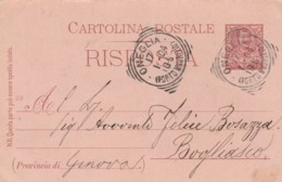 INTERO POSTALE 1904 RISPOSTA CENT.7,5 TIMBRO ONEGLIA PORTO MAURIZIO (LN807 - 1900-44 Victor Emmanuel III