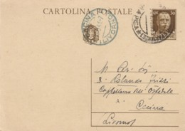 INTERO POSTALE 1941 CENT.30 TIMBRO CECINA LIVORNO (LN844 - 1900-44 Vittorio Emanuele III