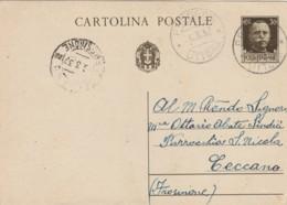 INTERO POSTALE 1937 CENT.30 TIMBRO FROSINONE LITTORIA (LN850 - Interi Postali