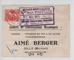 AP2102/ TP 74 GB Perforé F P H Métaux Quincaillerie Fontaine Gilly S/Etiquette De Colis C.Gilly 30/5/1911 V.E/V - Perforés
