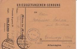 Carte De Franchise Depot De Prisonniers De Guerre D'Orléans - Marcophilie (Lettres)