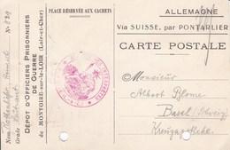 Carte De Franchise Depot D Officiers  Prisonniers De Guerre De Montoire Sur Le Loir - Marcophilie (Lettres)