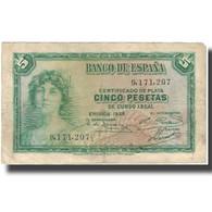 Billet, Espagne, 5 Pesetas, 1935, 1935, KM:85a, TTB+ - [ 2] 1931-1936 : République