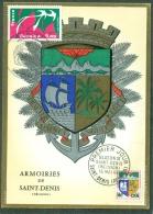 CM-Carte Maximum Card # France-1977 # Tourisme # Régions # Ile De La Réunion # Blason,Wappen,coat Of Arms # St-Denis - Cartes-Maximum