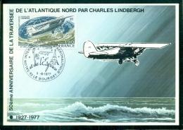 CM-Carte Maximum Card # France-1977 #Transport # Aviation# 50° Anniversaire Traversée Atlantique Par Lindbergh # Bourget - Maximum Cards