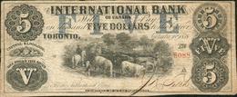 BILLET DE LA BANQUE INTERNATIONALE (TORONTO) DE 1858 - Canada