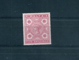 MALTA 1886 REGINA VITTORIA 5 SCELLINI NUOVO CON LINGUELLA - Malte (...-1964)