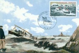 CM-Carte Maximum Card #France-1974 # Secourisme # Sauvetage En Mer #Seenotrettung # Distress Rescue # Paris - Maximum Cards