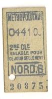 ANCIEN TICKET DE METRO PARIS PARIS NORD B  B409 - Métro