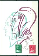 CM-Carte Maximum Card #France-1974(1814,1816)Timbres Courants # Marianne De Béquet ( 0,60 ,080  ) # Paris - 1970-79