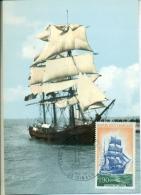CM-Carte Maximum Card # France-1972 # Voilier, Sailing Ship, Terre-Nevas ,côte D´Émeraude # Trois Mâts  Brick #  D - Maximum Cards