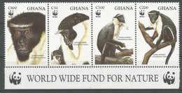 1994 Ghana WWF Diana Monkey Set (** / MNH / UMM) - Nuevos