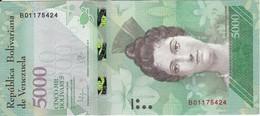BILLETE DE VENEZUELA DE 5000 BOLIVARES DEL 18 DE AGOSTO DEL 2016 EN CALIDAD EBC (XF)  (BANKNOTE) TORTUGA-TURTLE - Venezuela