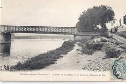 CPA CONFLANS-SAINTE-HONORINE -le Pont De Conflans Et Le Pont Du Chemin De Fer - Conflans Saint Honorine