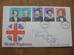 S044: FDC: BRITISH EXPLORERS - 3P, 3P, 5P, 7.5P, 9P.Post Office First Day Cover. - FDC