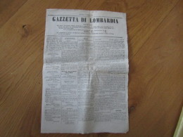 GIORNALE LA GAZZETTA LOMBARDA   DOMENICA 5 GIUGNO 1859 - Historical Documents
