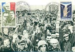 CM-Carte Maximum Card # France-1970 # Guerre,Krieg #Libération Des Camps # KZ-Befreiung ,Strasbourg ,Besancon (Combi-MC) - Maximum Cards