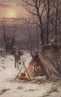 AQ88 Textured Art Postcard - Couple Cooking Over A Fire In Winter - 1900-1949