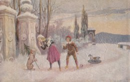 AQ88 Textured Artist Signed Postcard - Children With Rocking Horse And Dog In The Snow - Other Illustrators