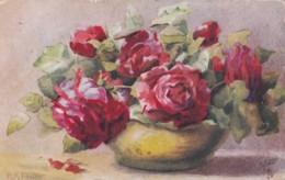 AQ88 Artist Signed Foster - Vase Of Roses - Tuck Oilette - Illustratoren & Fotografen