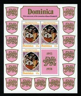 DOMINICA - 1978 QUEEN ELIZABETH II CORONATION ANNIVERSARY SHEETLETS (3) FINE MNH ** - SEE ALL SCANS - Dominica (1978-...)