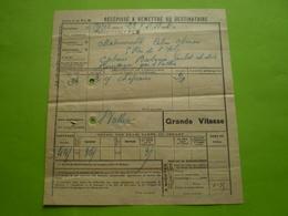 Paris Tivoli PLM , Récépissé De Transport à St Vallier, Drôme En Grande Vitesse. Griffe Linéaire - Titres De Transport