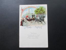 AK Um 1900 Gruss Aus Berlin. Unsere Kaiserin. Pferdekutsche. Kunstanstalt J. Miesler. Glückwunsch Zum Neuen Jahr - Gruss Aus.../ Grüsse Aus...
