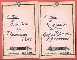 """4 Buvards Neufs  1923  """"CHAUSSURES RAOUL""""   Lithographiés Décor ART DECO - EN MARS, EN MAI, EN JUILLET, EN OCTOBRE - Zapatos"""