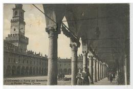 Cartolina Vigevano - Torre Del Bramante E Portici Piazza Ducale - Vigevano