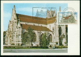CM-Carte Maximum Card # France-1969 #  Sites & Monuments # Architecture # Église De Brou # Obl. Flamme Bourg-en-Bres - Cartas Máxima