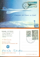 "CM-Carte Maximum Card # France-1969 #Transports # Avion Supersonique, Airliner  ""CONCORDE""  Vol En Israel 1985 - 1960-69"