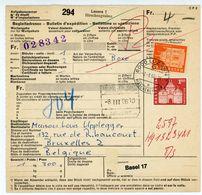 Auslands Packetkarte Aus Luzern Hirschgraben Nach Belgien 1966 - 4 Franken Frankatur - Briefe U. Dokumente