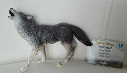 Figurine, Animal Sauvage, Loup Gris - Gray Wolf - Wild Safari - Lobo - Long 10 Cm - Figurines