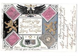 Herzliche Grusse Aus Deutschland Holland Belgien Neutral Gebiet Kelmis Belgique Nederland 1902 Bon état Militaria - Kelmis