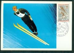 CM-Carte Maximum Card #1968-France # Sport -Jeux Olympiques -Winter Olympic Games -saut - Grenoble -FFSG-6.2.1968 - 1960-69