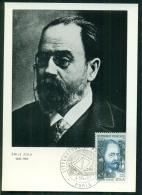 CM-Carte Maximum Card # 1967-France # Célébrités-Famous People # Emile Zola , écrivain,poet # Obl. Littérature,Paris - 1960-69