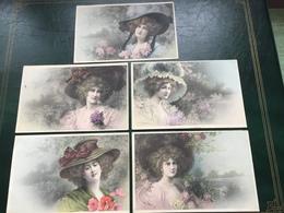 Art Nouveau - MM Vienne Nr 411 - Set 5 CPA - Donnine Con Cappello Alla Moda - Sign. Wichera - Wichera