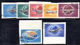 Z867 - RUSSIA URSS 1958, Posta Aerea Unificato Usato Con Gomma N. 105A/111A  NON DENTELLATO - Usati