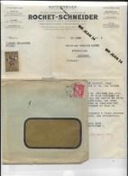 23 Creuse 69 Lyon Automobiles ROCHET SCHNEIDER Courrier à Camille  MOREL Mecanicien A MAINSAT16 3 1936 + Enveloppe - France