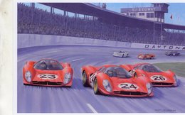 24 Hours Daytona 196 - Equipe Ferrari 330P4 - Pilotes: Chris Amon/Lorenzo Bandini - Illustrateur: Benoit Deliège - CPM - Le Mans