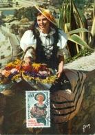 CM-Carte Maximum Card # 1965-France # Traditions # Campagne Accueil Et Amabilité # Fleurs,costume ,Nicoise # Paris - 1960-69