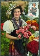 CM-Carte Maximum Card # 1965-France # Traditions # Campagne Accueil Et Amabilité #flowers, Fleurs, Costume  # Paris - 1960-69