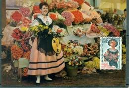 CM-Carte Maximum Card # 1965-France # Traditions # Campagne Accueil Et Amabilité #flowers, Fleurs, Costume # Montpellier - 1960-69