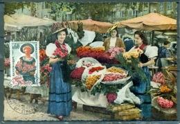 CM-Carte Maximum Card # 1965-France # Traditions # Campagne Accueil Et Amabilité #flowers, Fleurs, Costume # Strasbourg - 1960-69