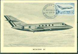 "CM-Carte Maximum Card # 1965-France #  Transports # Aviation # Jet Plane ,Düsenflugzeug ,avion"" Mystere 20 "" # Paris - Cartes-Maximum"